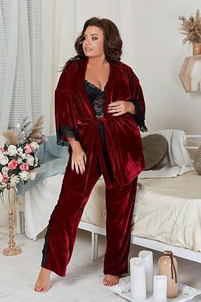 """Бархатный домашний женский комплект-пижама """"COMFORT"""" с кружевом (большие размеры), фото 2"""