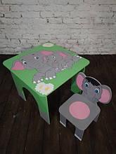 Стол квадратный с рисунком и стул Слонята (406)