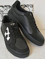 Off white мужские кожаные кеды туфли спортивный стиль офф вайт., фото 1