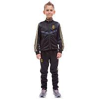Костюм спортивный детский клубный REAL MADRID, полиэстер, флис, р-р 26-32, черный (LD-6126K-R-(blk))