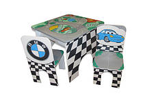 Стол квадратный и 2 стула Машинки (223)