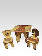 Стол квадратный и 2 стула Лошадка / Медвежонок (224)
