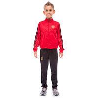Костюм спортивный детский клубный MANCHESTER, полиэстер, флис, р-р 26-32, красный (LD-6127K-M-(rd))