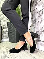 Жіночі закриті туфлі з натуральної замші на підборах Чорний / нікель змія, фото 1