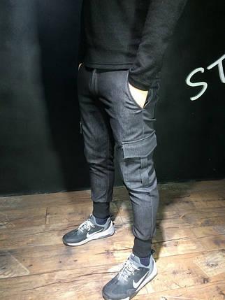 Чоловічі джоггеры SlimFit з кишенями карго, фото 2