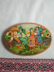 Картина на дереві Козаким  з дівчатами біля тину