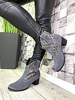 Жіночі демісезонні чоботи замшеві Козаки сірі/рептилія