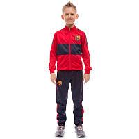 Костюм спортивный детский клубный BARCELONA, полиэстер, флис, р-р 24-32, красный (LD-6130K-BS-(rd))