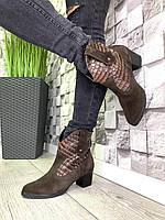 Жіночі демісезонні чоботи замшеві Козаки коричневі
