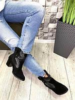Жіночі демісезонні чоботи замшеві чорні Козаки