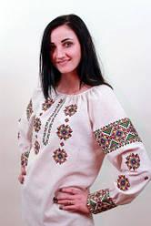 Женская вышиванка Роксолана белый лён , размер 46- 56