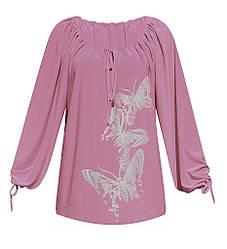 Длинная трикотажная нарядная туника Бабочки для женщин