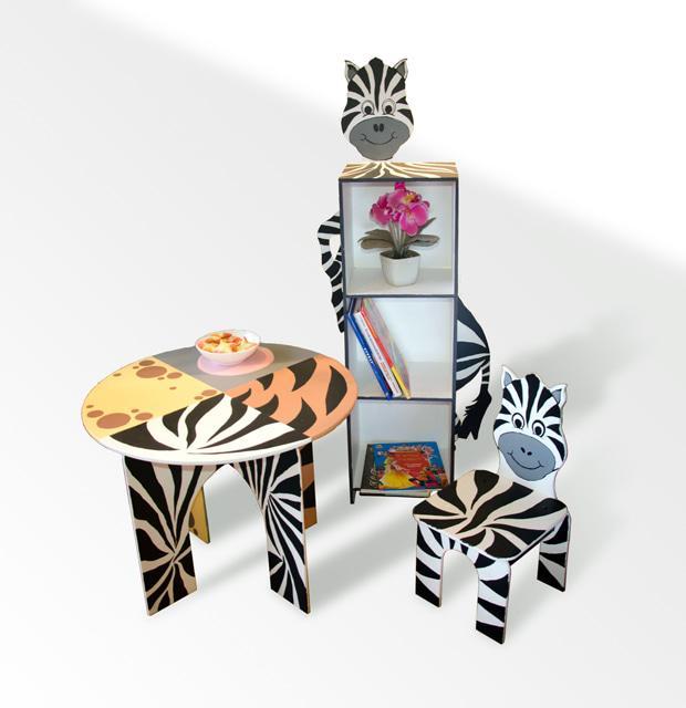"""Стіл круглий  + стілець + шафа на 3 полиці """"Зебра"""""""