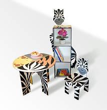 Стол круглый, стул, шкаф-пенал Зебра (228)