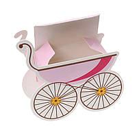 Подарочная упаковка, коробка, Коляска, Розовая, Для девочки, 12 см х 10 см.