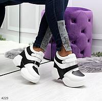 Женские сникерсы кроссовки на скрытой танкетке и платформе белые с черным, фото 1