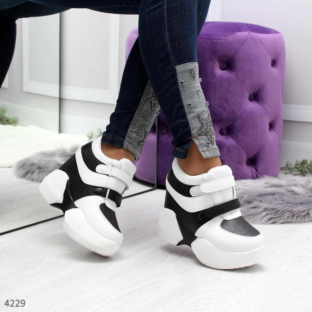 Женские сникерсы кроссовки на скрытой танкетке и платформе белые с черным