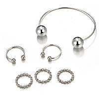 Набор колец 5шт с браслетом цвет металла серебро, фото 1