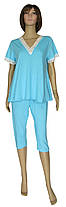 Пижама женская трикотажная с кружевом, футболка и бриджи 20007 Rozmari Agure коттон Бирюзовая
