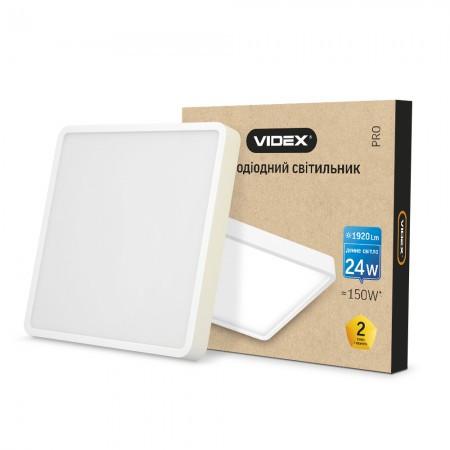 LED светильник накладной квадрат VIDEX 24W 5000K 220V