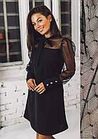 Черное платье с сеткой на рукавах вечернее прямое