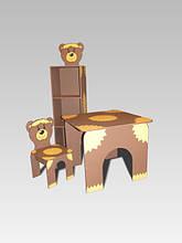 Стол квадратный, стул, шкаф-пенал Медвежонок (230)