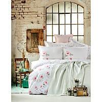 Набор постельное белье с покрывалом Karaca Home - Annas s.yesili 2020-1 зеленый евро