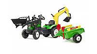 Детский трактор на педалях с прицепом, передним и задним ковшом Falk 2052CN RANCH