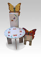 """Стіл круглий  + стілець  + шафа на 3 полиці з дверцятами """"Метелик"""""""