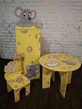Стол круглый, стул, шкаф-пенал с дверцей Мышки в сыре (394)
