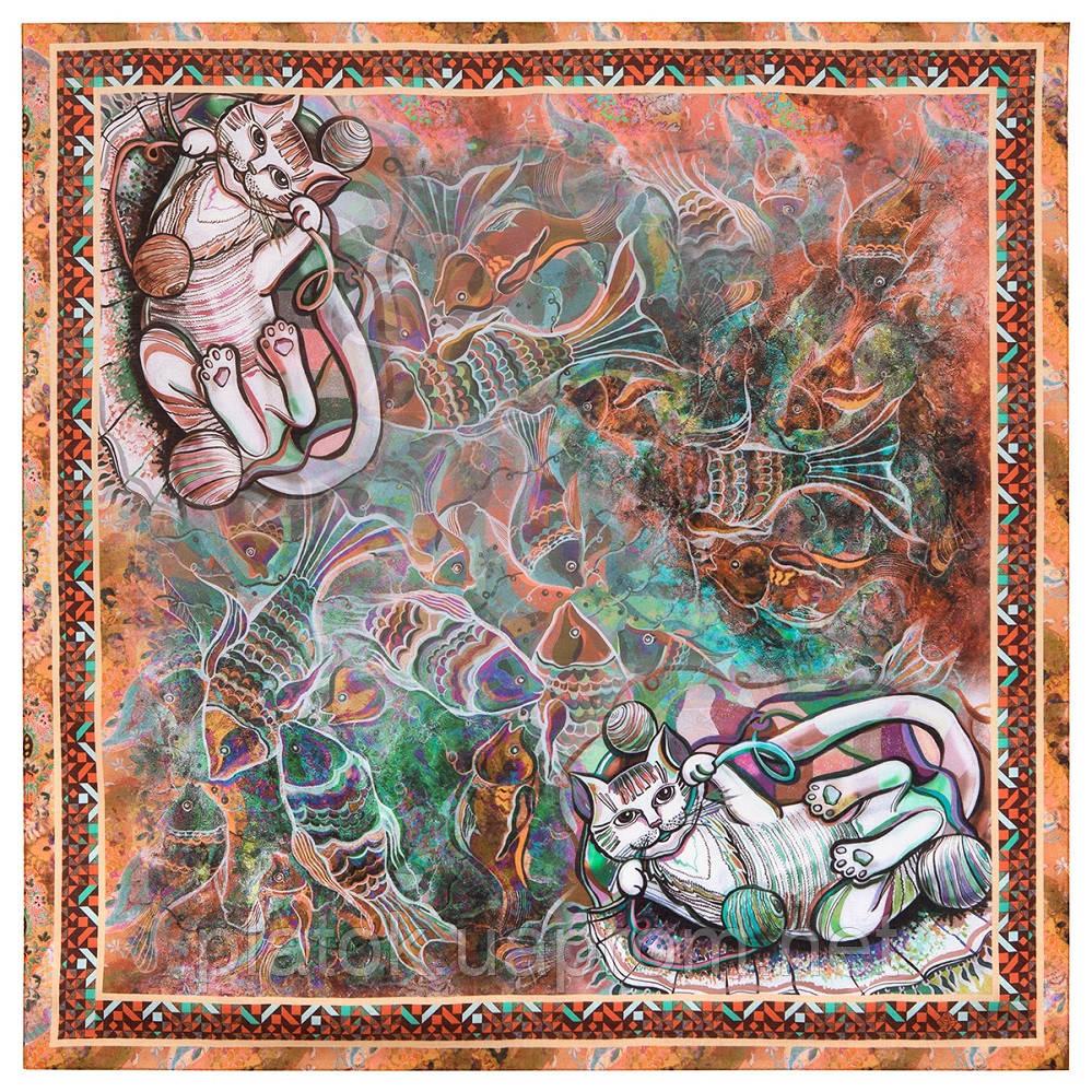 10195-16, павлопосадский платок из вискозы с подрубкой 80х80