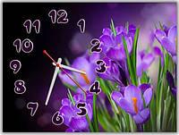 Эффектные фиолетовые настенные часы в спальню ReD Свежесть цветов, 30х40 см