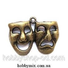 """Метал. подвеска """"маска"""" бронза (3,1х2,3 см) 3 шт в уп."""