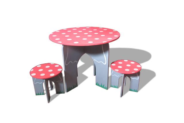 Стол круглый и 2 стула Мухоморчики (232)