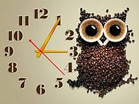 Эффектные коричневые настенные часы на кухню ReD Кофейная сова, 30х40 см