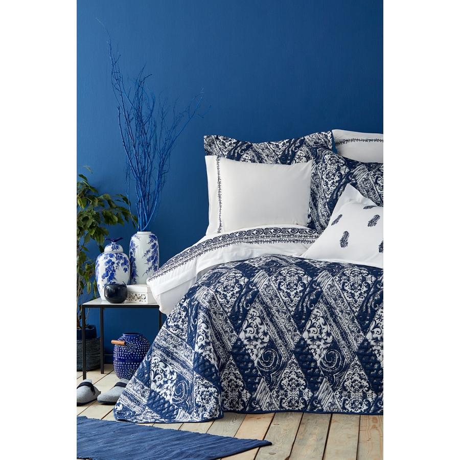 Набор постельное белье с покрывалом Karaca Home - Urla mavi 2019-2 голубой евро