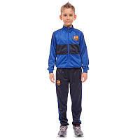Костюм спортивный детский клубный BARCELONA, полиэстер, флис, р-р 24-32, синий (LD-6130K-BS-(bl))
