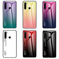 TPU+Glass чехол градиент для Xiaomi Redmi Note 8 HELLO (Разные цвета)