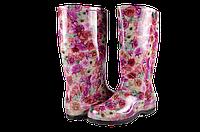 Женские сапоги резиновые мыльницы сж-4цветы разноцветные   весенние