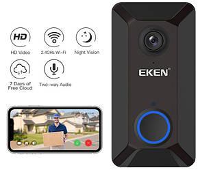 Бездротовий відеодзвінок з датчиком руху і WI-FI Eken V6 Black