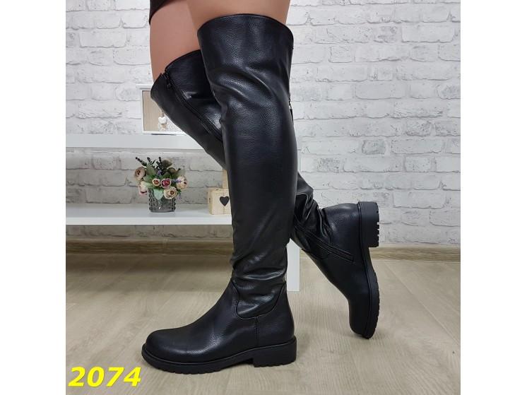 Ботфорты 36,37,38 размеры  сапоги чулки в коже на низком каблуке ходу К2074