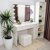 Гримерный стол для визажиста с гримерным зеркалом с лампамии ящиками, цвет - белый