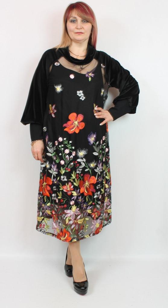 Турецкое женское платье с цветочным принтом, большие размеры 54-64