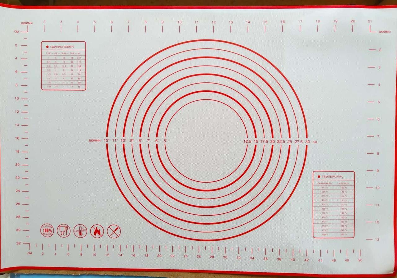 Силиконовый коврик для расскатки теста. Для выпечки 60*40см, коврик для выпекания