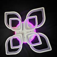 Светодиодная люстра с пультом-диммером и цветной подсветкой белая 8073-4+4, фото 1