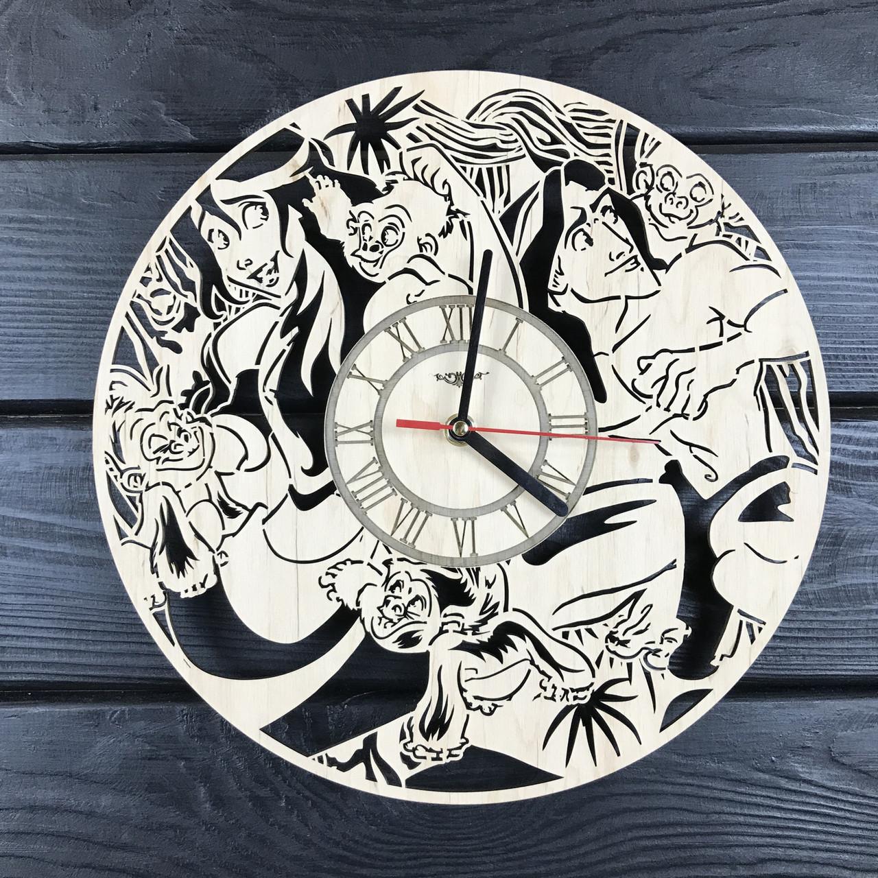 Детские интерьерные часы на стену «Тарзан и его друзья»