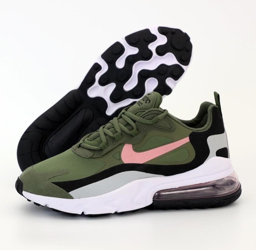 Мужские кроссовки Nike Air Max 270 React Haki. Живое фото. Топ реплика