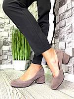 Женские закрытые туфли из натуральной замши на каблуке капучино, фото 1