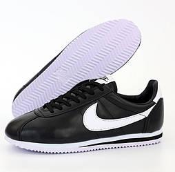 Мужские кроссовки Nike Cortez черные с белым осень-весна. Живое фото. Реплика. Чоловічі кроссівки