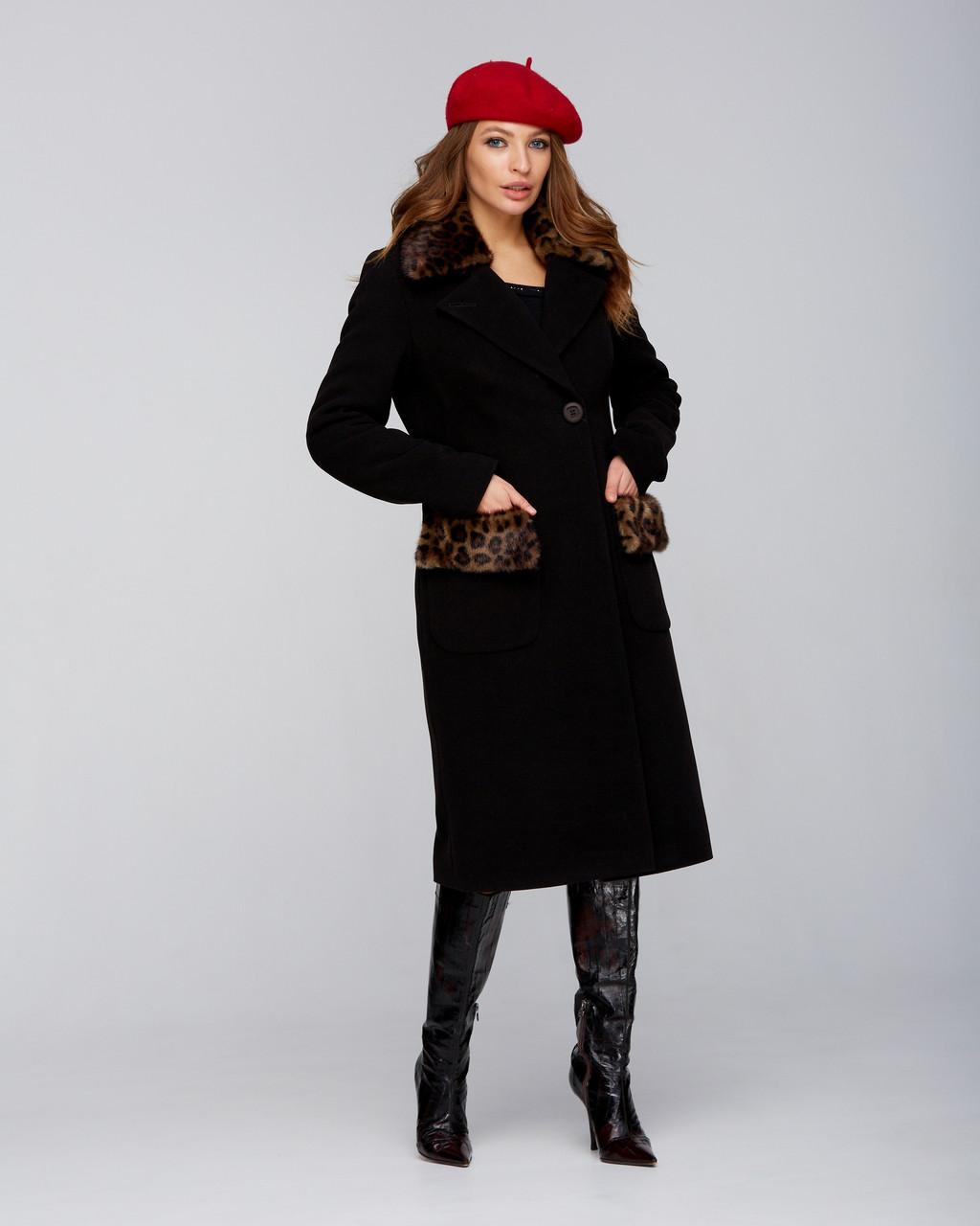 Зимовий стильне пальто з леопардовим коміром, різні кольори